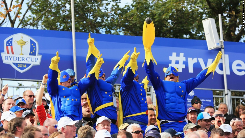 Spectators dressed as bananaman enjoying day two in the grandstands at Gleneagles.