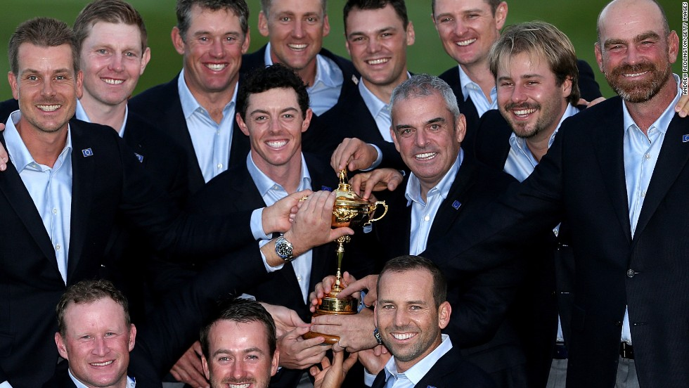 The victorious European team and captain Paul McGinley after retaining the Ryder Cup at Gleneagles.