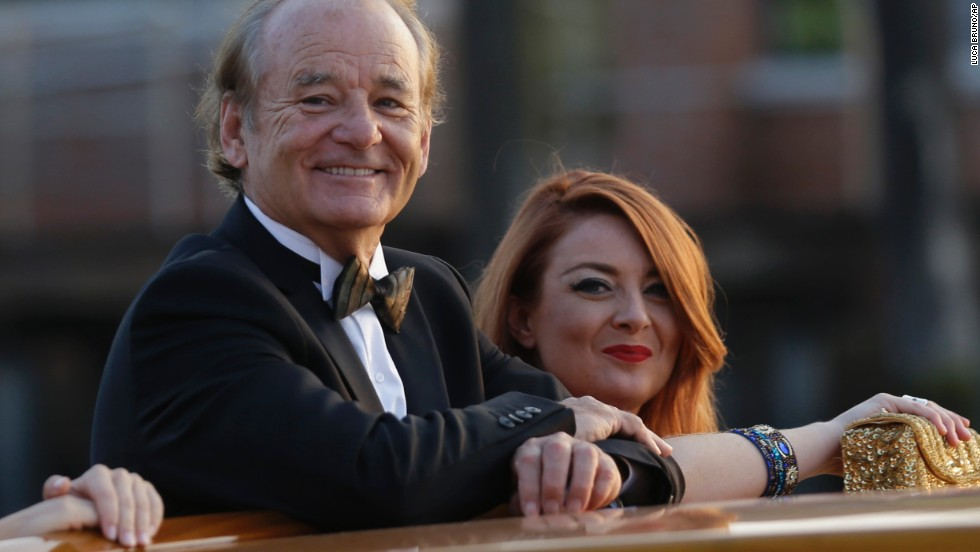 Actor Bill Murray and Samantha Barry, CNN's senior director of social news, arrive for the wedding.