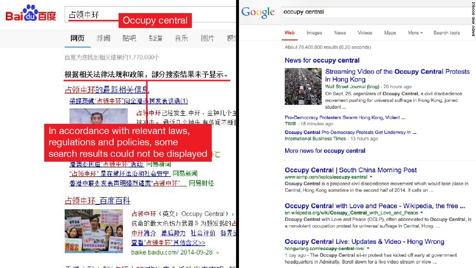 "Pictured left, is Baidu, China's biggest search engine. A search for the term ""Occupy Central"" brings blocked results and headlines with a pro-China slant. One of the headlines reads: ""Occupy Central is destructive to the rule of law, social peace and stability."" In comparison, searching for the same term on Google in Hong Kong, shows news of the Occupy Central demonstrations."