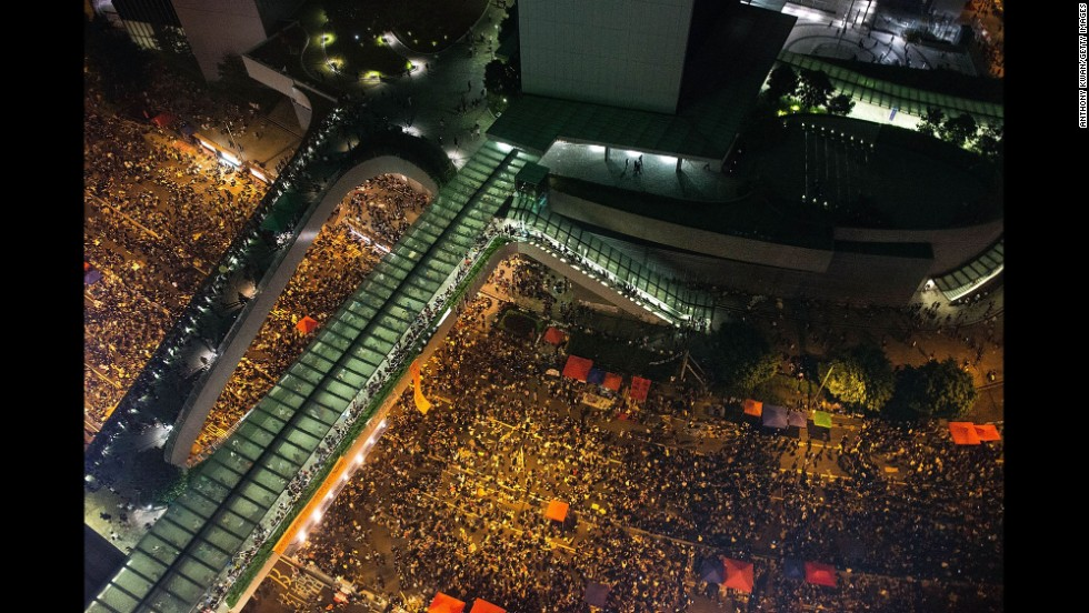 Protesters take part in a rally on a street outside the Hong Kong Government Complex on September 30.
