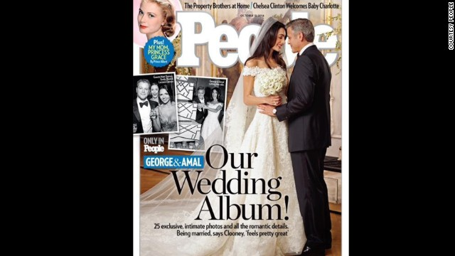 The cover of People magazine features the wedding of actor George Clooney and Amal Alamuddin.