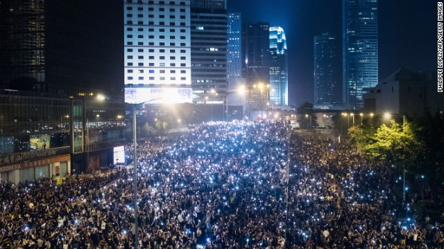 Pro-democracy demonstrators gather for the third night in Hong Kong on September 30, 2014.