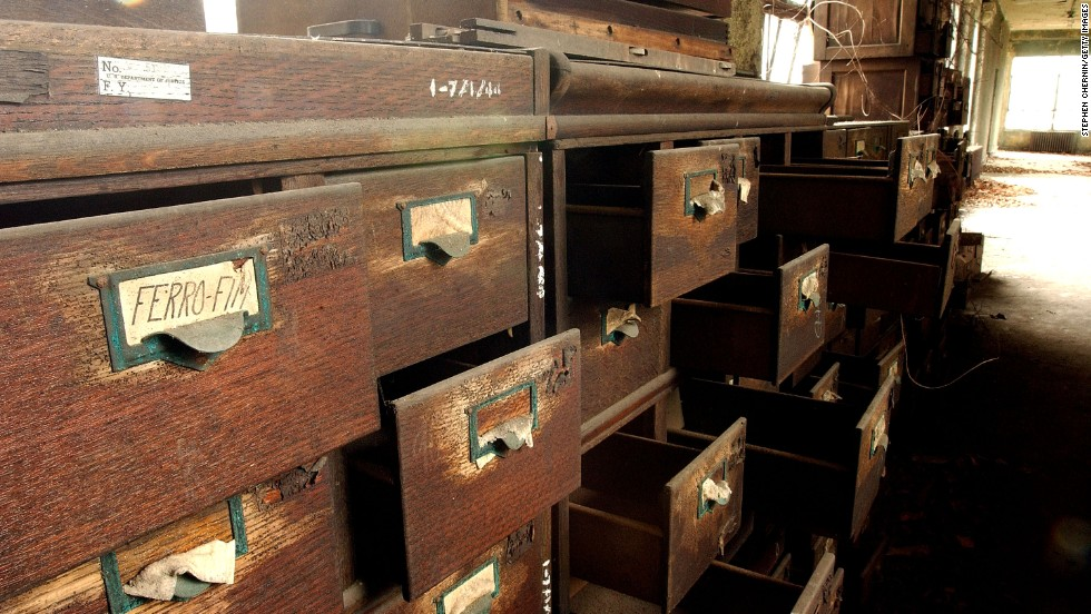 A row of file cabinets, as left in the Ellis Island hospital complex.