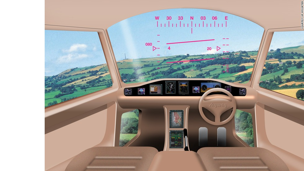 An artist's impression of the cockpit of the MyCopter project. Research institutes have spent years designing a cockpit that resembles a car and that anyone can pilot with a minimum of training.