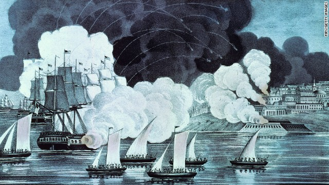 August 1804: Tracers arc in the sky as the U.S. Navy bombards Tripoli to fight a ruler who supported the Barbary pirates.
