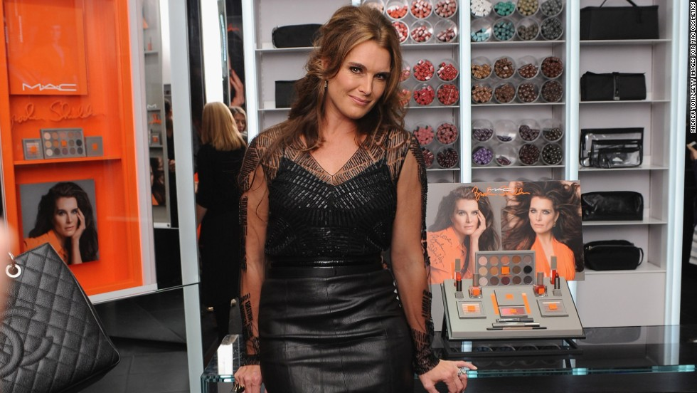 Brooke Shields lounges at the MAC Cosmetics launch of the Brooke Shields Collection on October 1 in New York City.