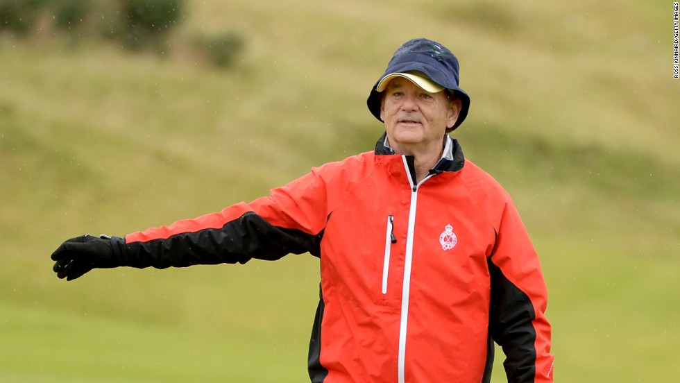 Bill Murray plays up to the crowd at  the Alfred Dunhill Links Championship on October 3 in Kingsbarns, Scotland.