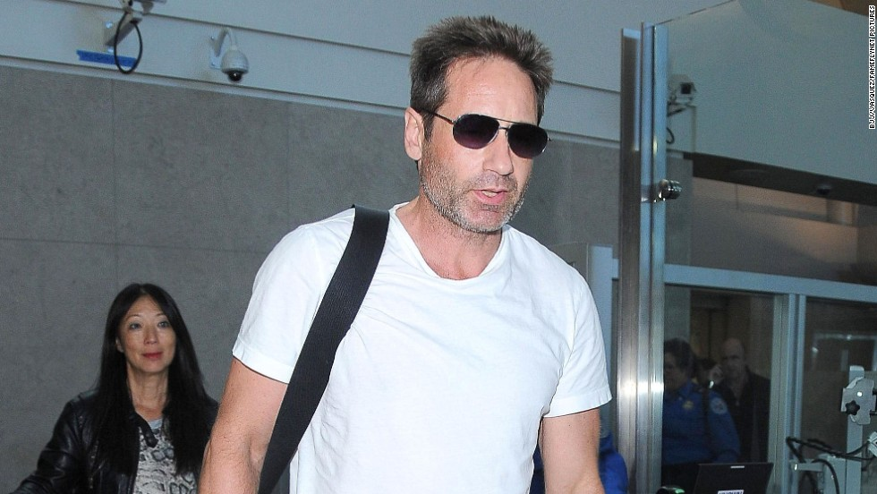 David Duchovny arrives on at LAX airport in Los Angeles, California on October 1.