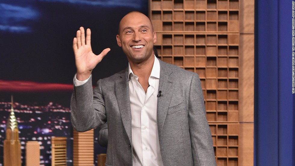 "Derek Jeter visits ""The Tonight Show Starring Jimmy Fallon"" on October 2 in New York City."