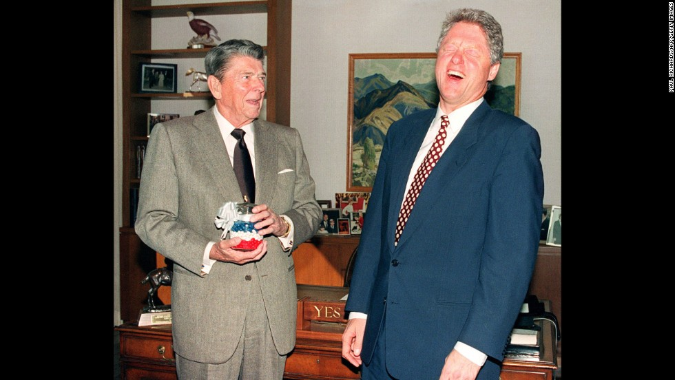 "Ronald Reagan, the 40th president, at left with Bill Clinton, munched on jelly beans to quit smoking and quickly fell in love with the candy, often keeping a stash nearby in the White House, according to the <a href=""https://reaganlibrary.archives.gov/archives/reference/jellybellies.html"" target=""_blank"">Ronald Reagan Presidential Library and Museum</a>."