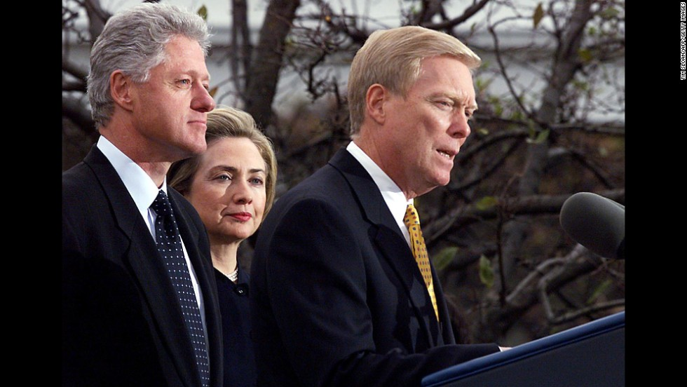 The Clintons listen as House Minority Leader Dick Gephardt addresses the nation on December 19, 1998, at the White House after the  House of Representatives voted to impeach the President on charges of perjury and obstruction of justice related to the Lewinsky scandal. A defiant Clinton rejected calls for his resignation following the House vote.