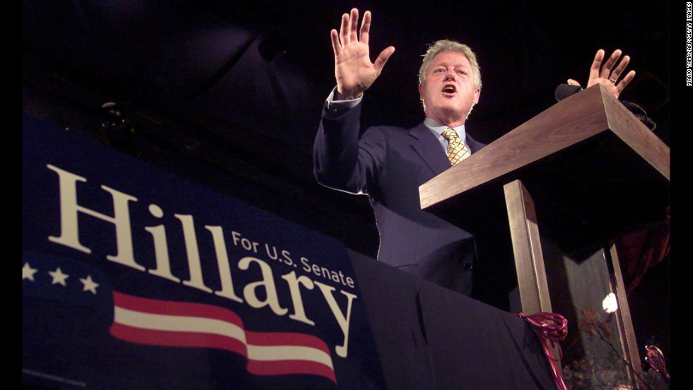 Clinton speaks at a New York Senate fund-raiser on October 22, 2000, at the Bonnie Castle Resort in Alexandria Bay, New York. Clinton attended four fundraisers throughout New York state in support of his wife's Senate campaign.