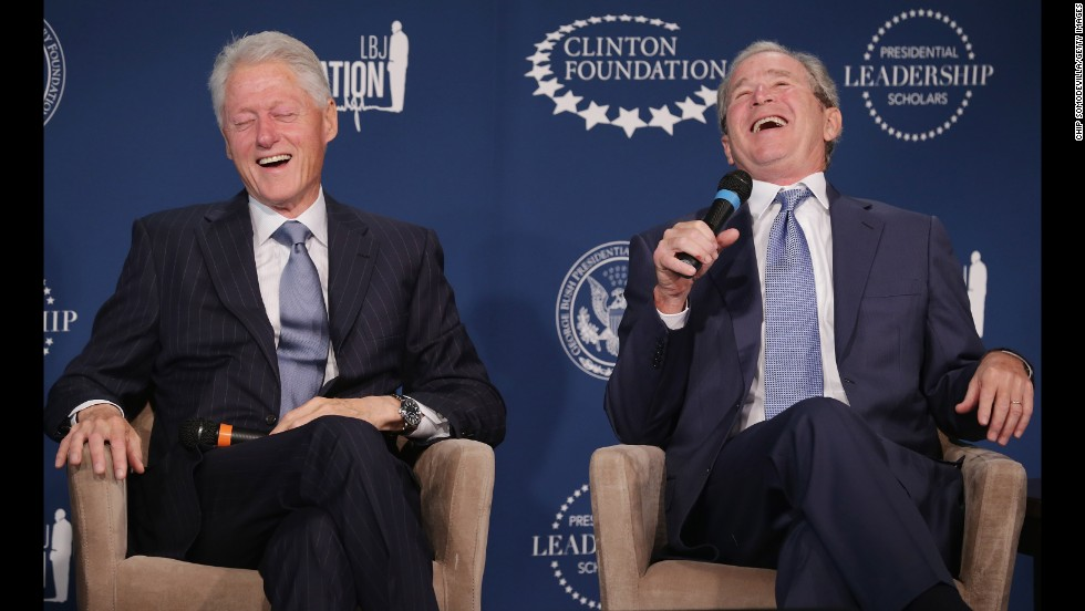 "Former Presidents Clinton and George W. Bush share a laugh during a September event launching the Presidential Leadership Scholars program at the Newseum in Washington. With the cooperation of the Clinton, Bush, Lyndon B. Johnson and George H. W. Bush presidential libraries and foundations, the new scholarship program will provide ""motivated leaders across all sectors an opportunity to study presidential leadership and decision making and learn from key administration officials, practitioners and leading academics."""