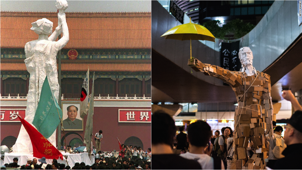 The Goddess of Democracy (left image), erected by student protesters in 1989 in Tiananmen Square. The photo on the right shows a wooden statue of an umbrella man, created by an art graduate student who calls himself Milk. He told CNN he did not intend to link the piece with the Tiananmen symbol.