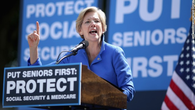 WASHINGTON, DC - SEPTEMBER 18:  Sen. Elizabeth Warren (D-MA) addresses a rally in support of Social Security and Medicare on Capitol Hill September 18, 2014 in Washington, DC. The rally was organized by American United for Change, a liberal advocacy group founded to fight the privitization of Social Security.  (Photo by Chip Somodevilla/Getty Images)
