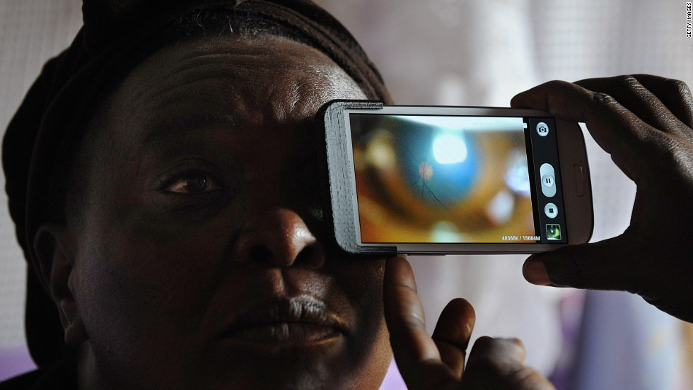 Cutting edge procedures can use retina scans to direct treatment, such as this test for glaucoma in Kenya.