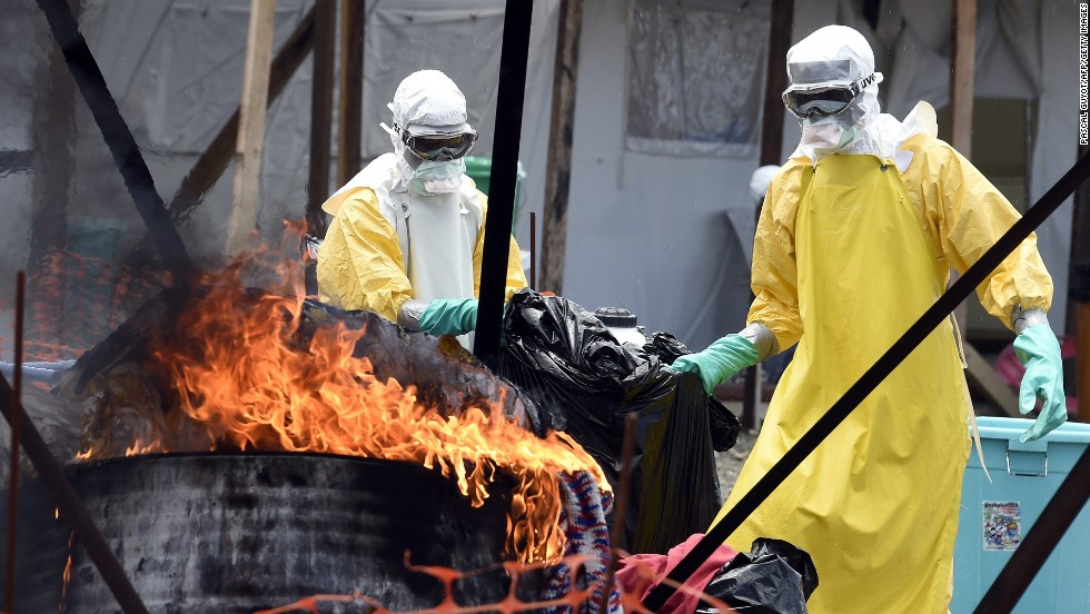 In Liberia, medical staff burn clothes belonging to Ebola patients to help stop the spread of the virus.