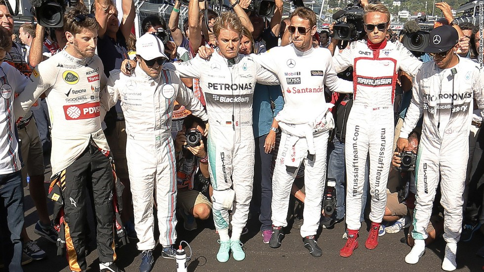There were subdued scenes in Sochi as the F1 drivers held a minute's silence before the race in respect for Bianchi, who was in a French hospital at the time.