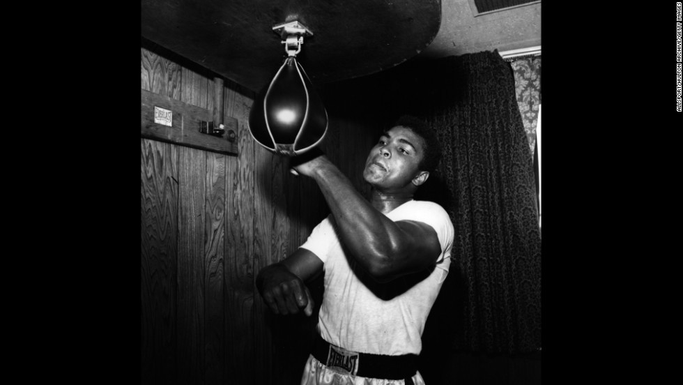 Ali prepares to defend his heavyweight title in 1965.