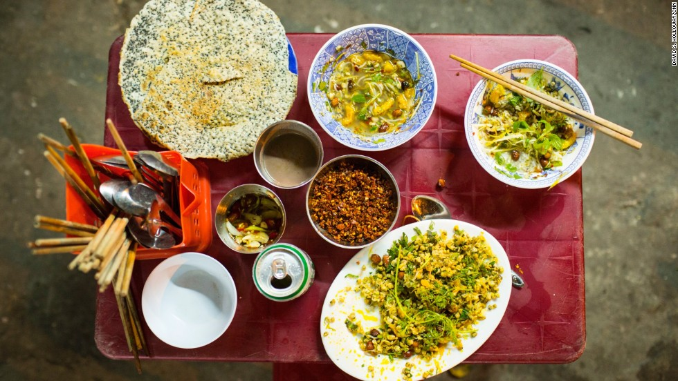 Bourdain says some of his best meals, like this one, are served in a bowl on the side of the street.