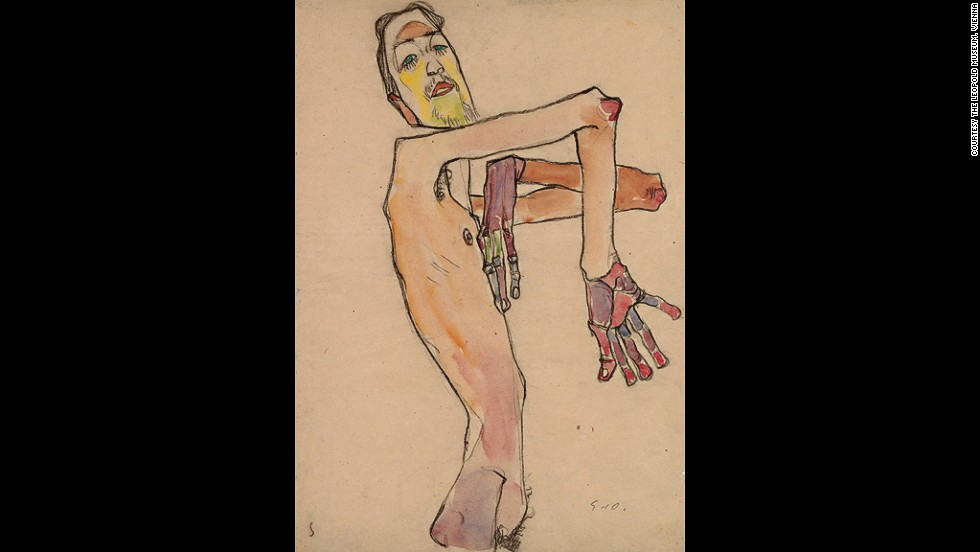 "<em><strong>Erwin Dominik Osen, Nude with Crossed Arms, 1910</strong></em><br /><br />His poses often seem more like contortions. Unnatural and difficult to hold, they were an obvious departure from the natural, modest ones adopted by nudes until that point. <br /><br />""For him, the experience is not a shock tactic, but genuinely trying to find a new visual language to explore the body."""