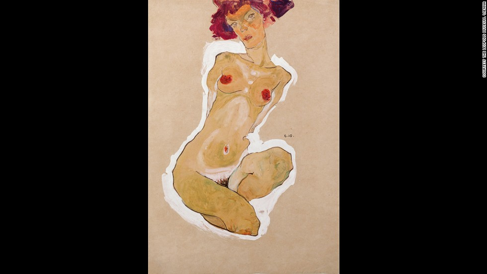 "<em><strong>Squatting Female Nude, 1910</strong></em><br /><br />Schiele had developed his life-drawing skills at the Vienna Academy of Fine Art before he dropped out three years in. These skills, combined with his unique vision, made for compelling work.<br /><br />""What's extraordinary about Schiele's work is just how he's able to combine that kind of subject matter with the handling of the pencil and the brush,"" Wright says. ""You have on the one hand works that you could get lost in just for their aesthetic beauty, but you're constantly oscillating between that and the realization of these things and frank depictions of sexuality."""