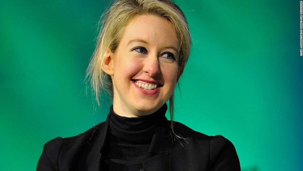 "American Elizabeth Holmes, 32, is the world's youngest self-made female billionaire. She founded revolutionary blood diagnostics company, <a href=""https://www.theranos.com/"" 目标=""_空白"">Theranos</a>, which uses a <a href=""http://edition.cnn.com/2015/11/12/health/theranos-what-we-know-science/&amp报价t;>prick of blood</一个> to get the same results as you would from an entire vial."