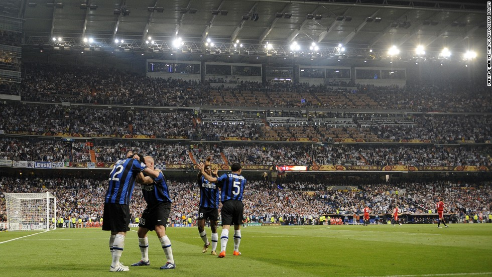 The Bernabeu has hosted four European Cup/Champions League finals. The most recent occasion was in 2010, when Diego Milito's brace helped Italians Inter defeat Bayern Munich 2-0.