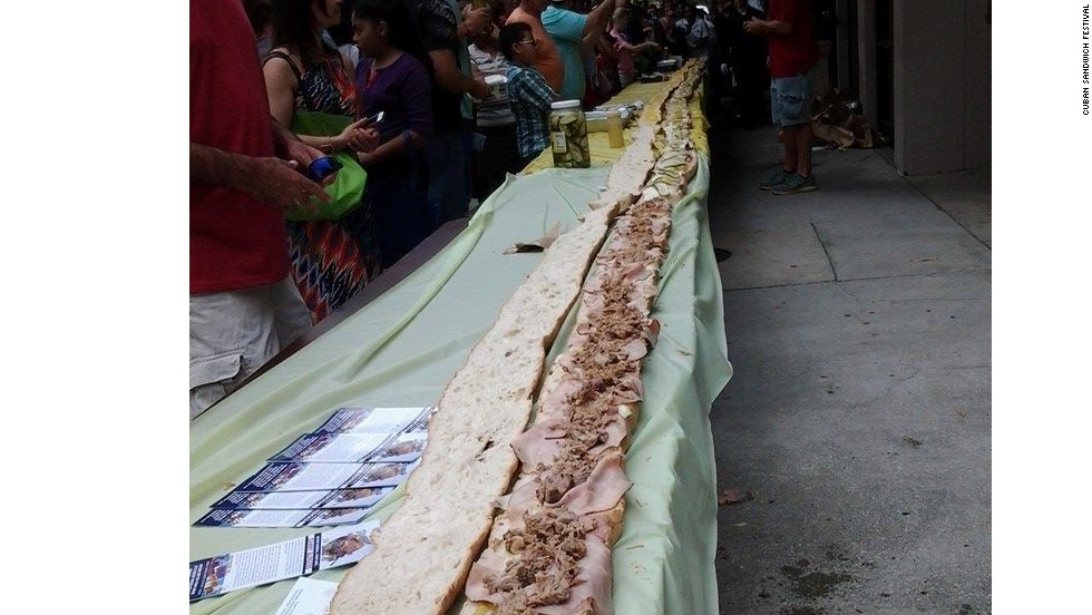 Tampa's Cuban sandwich piles Genoa salami atop roasted pork butt and smoked ham. This year's Cuban Sandwich Festival (in nearby Ybor City, site of the sandwich's purported genesis) produced the world's longest Cuban sandwich at 86.2 feet. It fed more than 200 homeless people.
