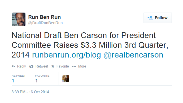 """Draft Ben Carson"" tweet announces campaign cash haul."