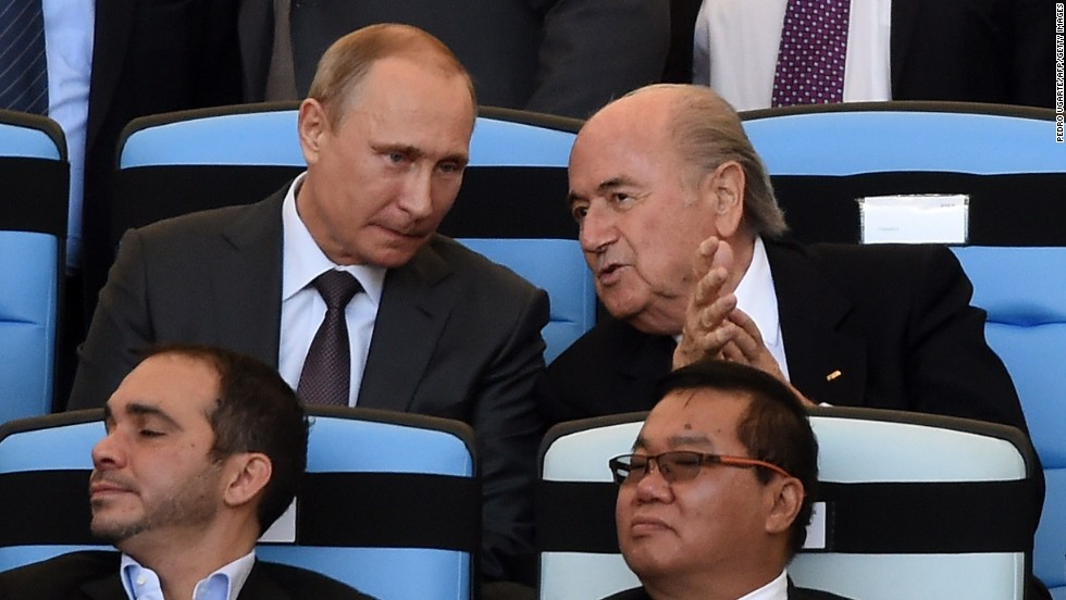 The Sunday Times report also claims Russian President Vladimir Putin (L) allegedly won the covert support of FIFA President Sepp Blatter (R) to enhance the claims of the Russia 2018 bid.