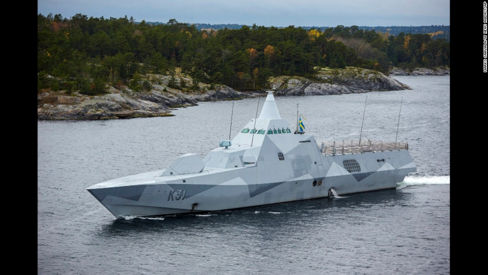 The Swedish Navy corvette HMS Visby patrols the Stockholm Archipelago on October 19. Russia has denied it has any vessel in Swedish waters.