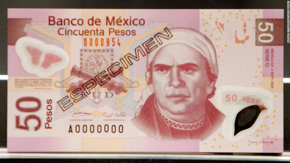 Mexico (pictured), Mozambique, Northern Ireland, Costa Rica and Lebanon are just a few of the nations to introduce polymer banknotes. Part of the polymer film is often left clear to give a transparent window in the banknote, making forgeries more difficult. Additional security features can be embedded into the polymer note.