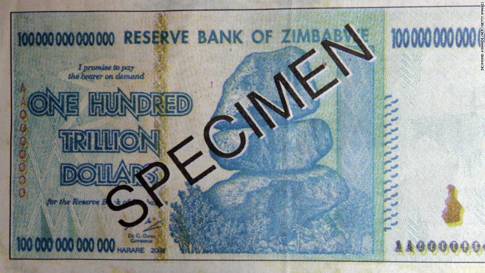 Not all paper money needs a funky design or futuristic security hologram to stand out or get noticed, however. This $100,000,000,000,000 (100 trillion) note from Zimbabwe is bound to grab anyone's attention.