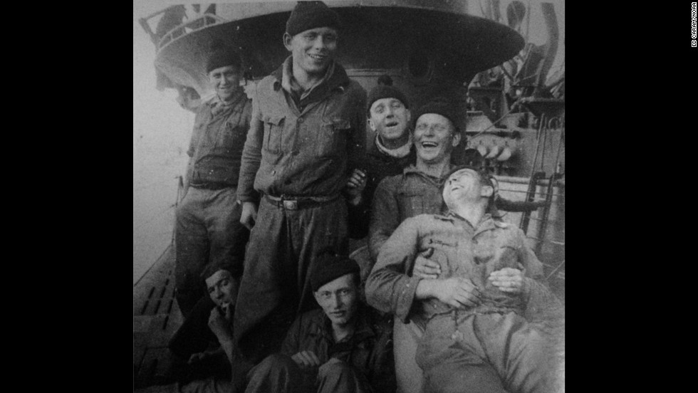 German soldiers pose for a photo aboard the sub. All of the U-boat's 45 crew were lost when it was sunk July 14, 1942, during the Battle of the Atlantic.
