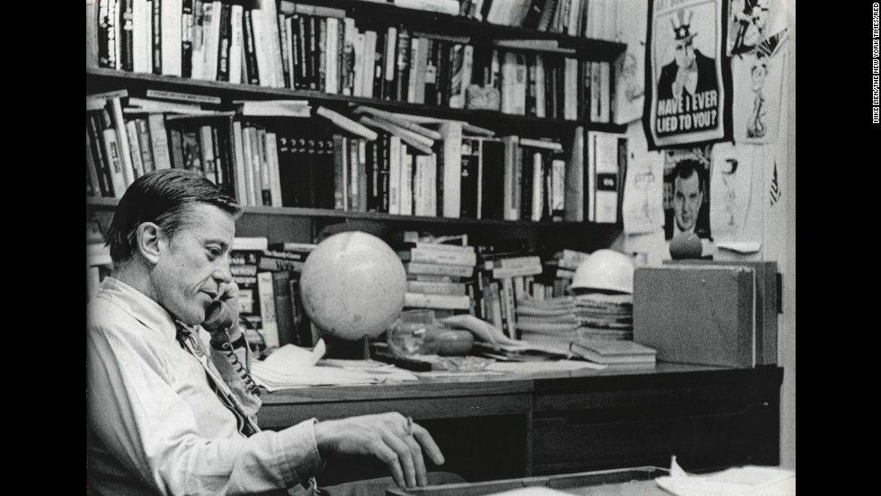 Executive Editor Bradlee in his office, June 18, 1971, after he received a call from the Justice Department asking for a voluntary halt in the Pentagon Papers series.