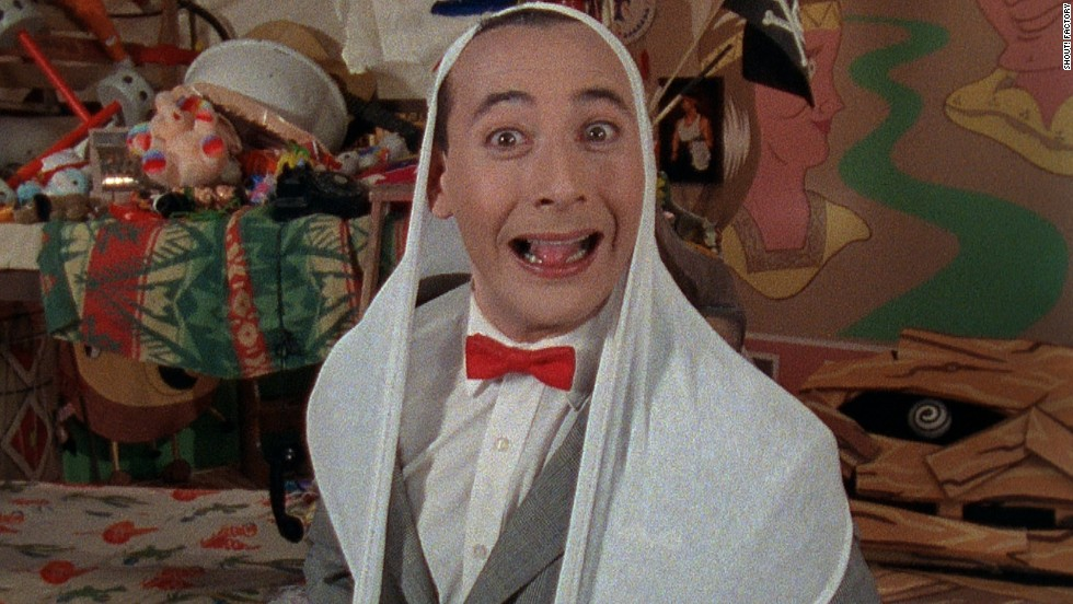 Pee-wee wears his giant underpants on his head.