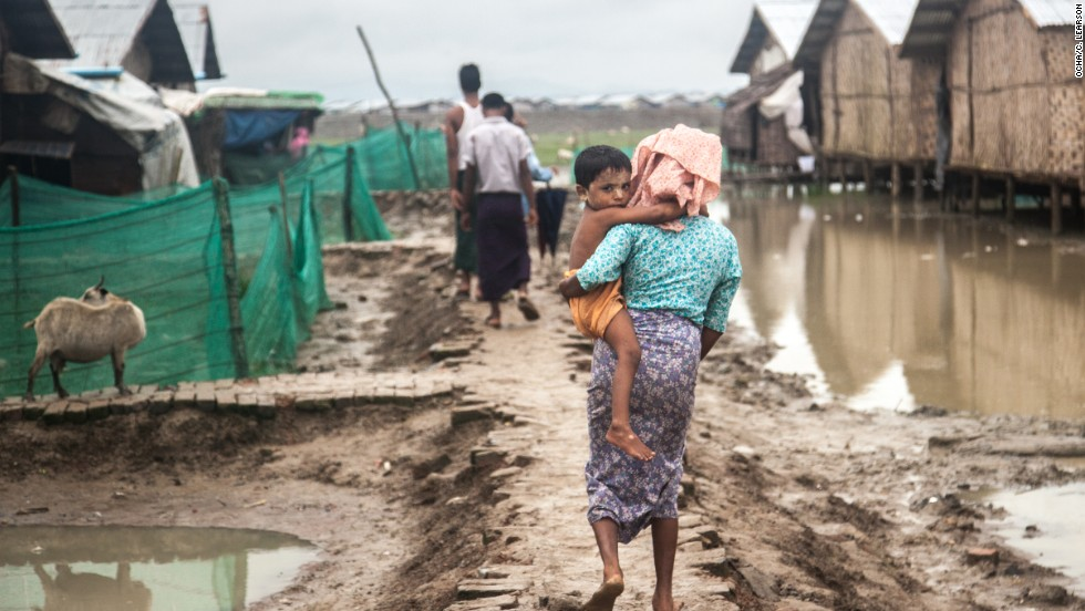 It is difficult to get contractors in to improve conditions in the camp, says a humanitarian worker familiar with Nget Chaung, as they have been warned off working there by Rakhine communities opposed to the Rohingya presence.