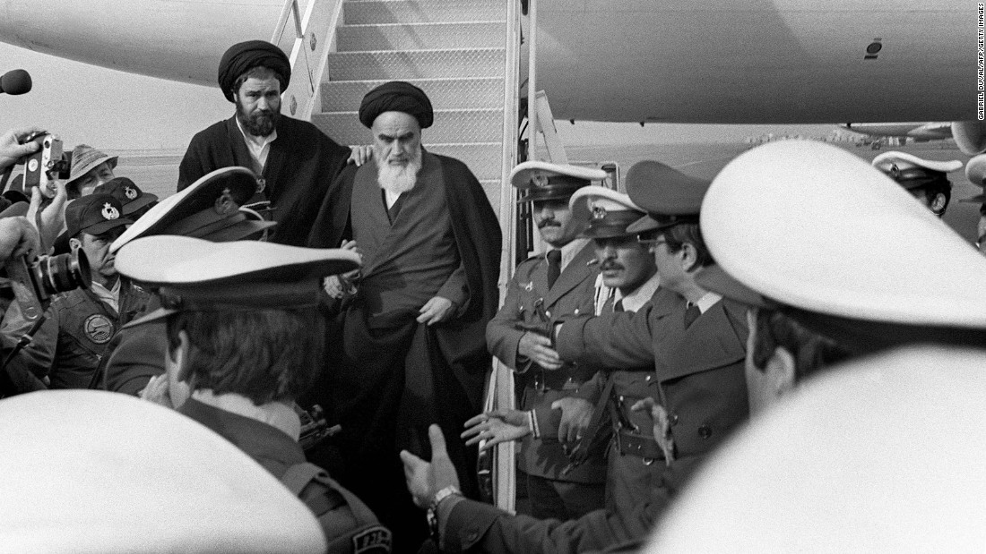 After 14 years in exile, Ayatollah Ruhollah Khomeini returns to lead Iran on February 1, 1979.