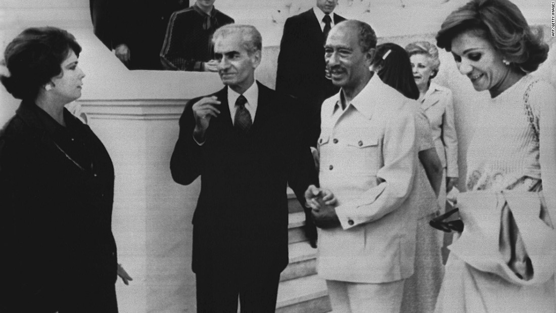 The Shah, second from left, visits with Egyptian President Anwar Sadat in Cairo on April 17, 1980. The Shah had returned to Egypt a month earlier.