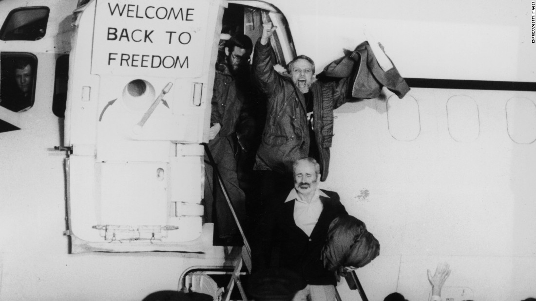 Minutes after Reagan's 1981 inauguration, the remaining U.S. hostages are released. They were flown to Wiesbaden Air Base in Germany, and the terms of their release included the unfreezing of Iranian assets.
