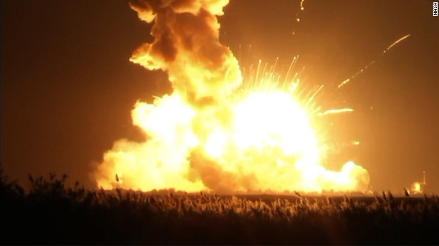 Raw video of unmanned rocket explosion