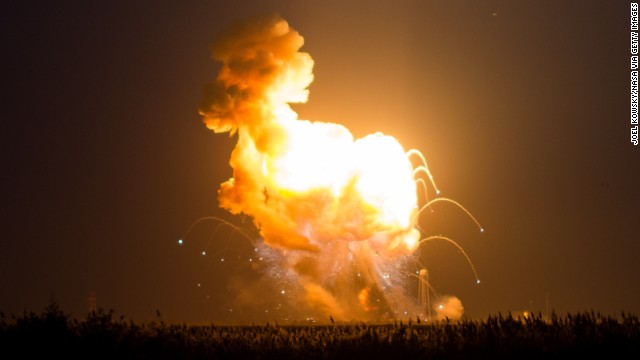 WALLOPS ISLAND, VA - OCTOBER 28: In this handout provided by National Aeronautics and Space Administration (NASA), The Orbital Sciences Corporation Antares rocket, with the Cygnus spacecraft onboard suffers a catastrophic anomaly moments after launch from the Mid-Atlantic Regional Spaceport Pad 0A at NASA Wallops Flight Facility on October 28, 2014 on Wallops Island, Virginia. William Gerstenmaier, associate administrator of NASA's Human Exploration and Operations Mission Directorate and Michael Suffredini, NASA's International Space Station Program Manager also participated in the press conference via phone. Cygnus was on its way to rendezvous with the space station. The Antares rocket lifted off to start its third resupply mission to the International Space Station, but suffered a catastrophic anomaly shortly after lift off at 6:22 p.m. EDT. (Photo by Joel Kowsky/NASA via Getty Images)