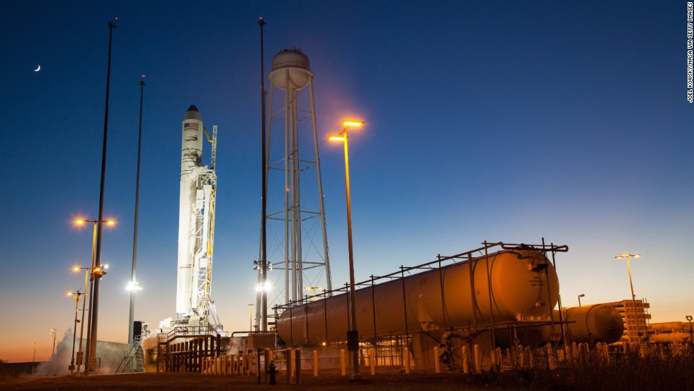 The Antares rocket, with the Cygnus spacecraft on board, is seen on Launch Pad-0A after the launch attempt was scrubbed on October 27.
