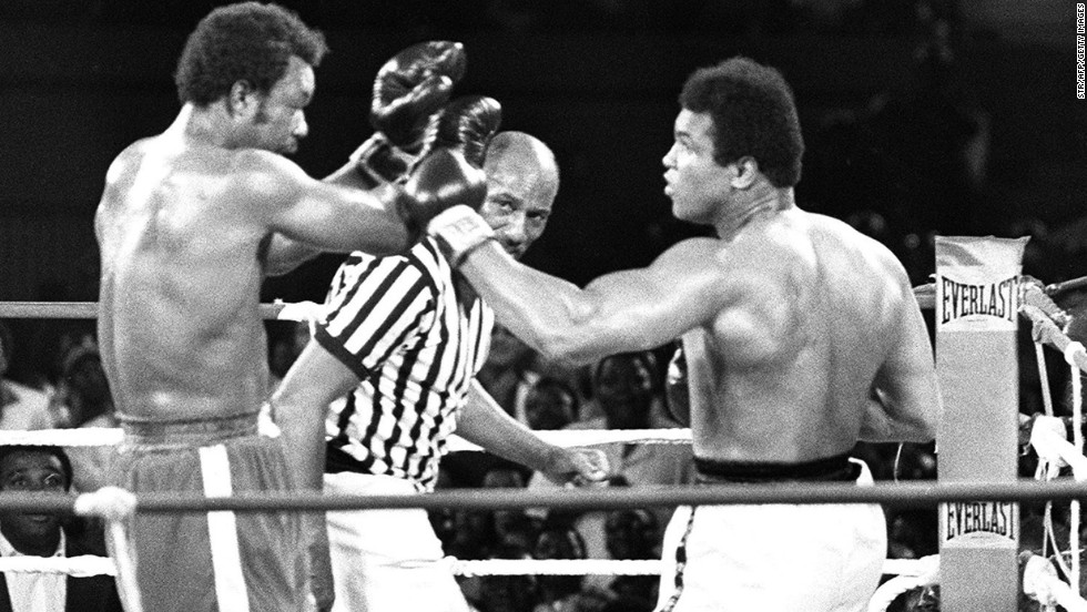 "One of Moawad's motivational tools is splicing video highlights of his clients mixed with footage of athletes including Muhammad Ali (right,) seen here upsetting George Foreman in the famous ""Rumble in the Jungle"" in 1974."