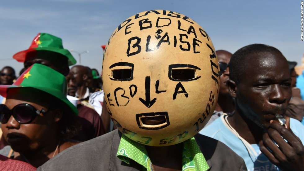 People march in Ouagadougou on October 29.