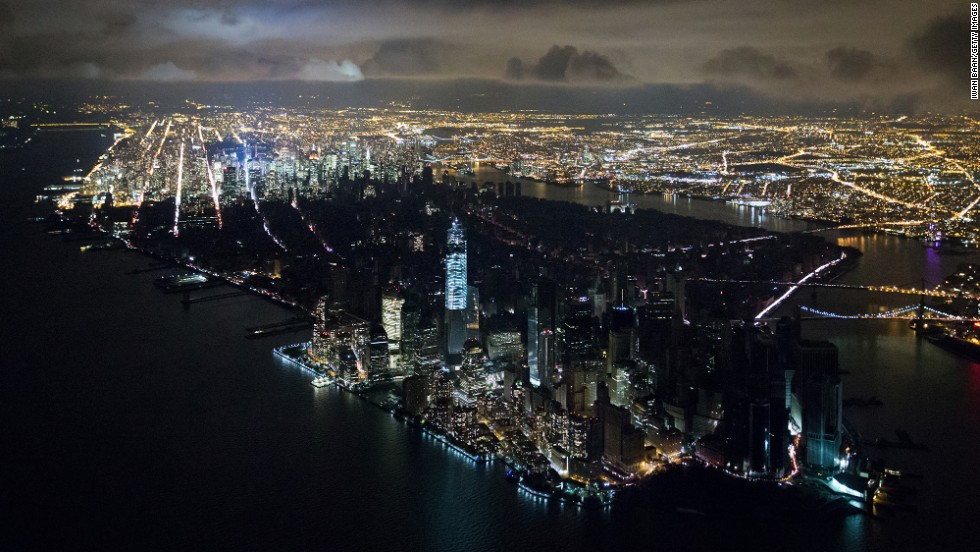 A blackout south of 39th Street in 2012. Superstorm Sandy cut power to millions in New York City.