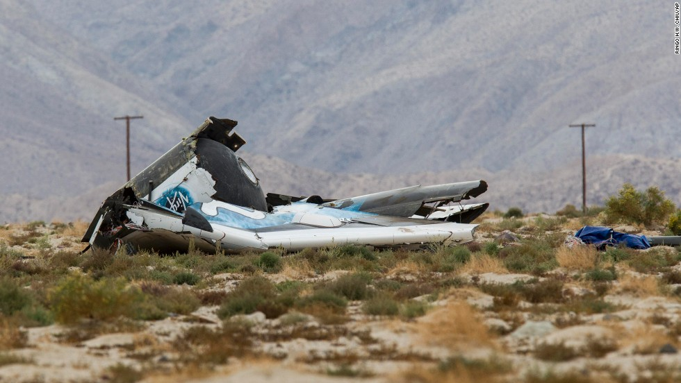 Wreckage lies near the site where a Virgin Galactic space tourism rocket, SpaceShipTwo, exploded over Mojave, California.