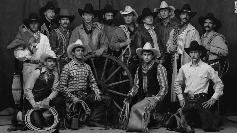 Little took this portrait of his fellow rodeo team members in his Hollywood photo studio in 1990, the year he won Bull Riding Champion of the Year. Little's photographs went on exhibition for the first time this year at the Eiteljorg Museum of American Indians and Western Art.